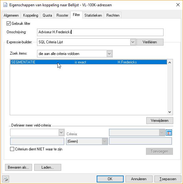 Segmentatie filter op accountmanager